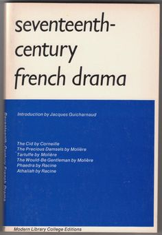 Seventeenth Century French Drama Book For Sale Modern Library, Random House, Fiction Books, Seventeen, Texts, Drama, French, Plays, College