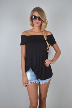 Black Off The Shoulder Top   Foi Clothing Boutique   Trendy Basic Top   Must Have   Everyday Wear   Wear Everyday   Buy Now on Foiclothing.com   Tunic Length   Best Selling Top   Spring and Summer Fashion   Women's Boutique   Also Available in Steel Blue  