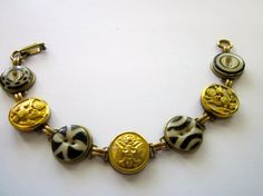 WEST POINT, ARMY antique button bracelet