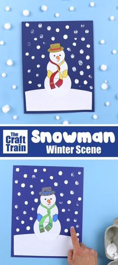 Printable Snowman Winter scene art project for kids. Colour, cut and glue the snowman onto paper and decorate the sky wi Winter Art Projects, Winter Crafts For Kids, Crafts For Kids To Make, Arts And Crafts Projects, Projects For Kids, Art For Kids, Quick Crafts, Fun Crafts, Paper Crafts