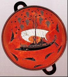 EXEQUIAS. Dionisos en un barco rodeado de delfines. Pinturas negras Grecia arcaica (600-530 a.C.)