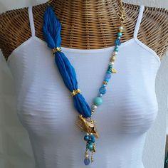 Handmade jewelry. Blue Long Necklace. Semi precious stones with silk. Design.