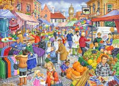 £9.99 GBP - The House Of Puzzles - 250 Big Piece Jigsaw Puzzle - Market Day Big Pieces #ebay #Collectibles