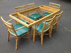 1stdibs | 1940's Rattan Bamboo Table and 6 chairs