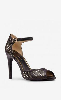 Women's Black Gold Faux Leather 4 Inch Peep Toe Heel