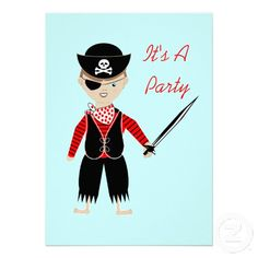 Boys Cute Pirate Birthday Party Invitations - easy to personalize templae