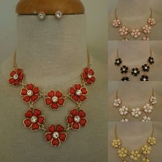 Flower theme necklace and earrings set.
