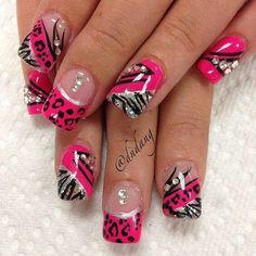 Your wedding day is almost here and now you're looking at accessories, makeup, and hair. Don't forget about your nails! Creative Nail Designs, Beautiful Nail Designs, Cute Nail Designs, Creative Nails, Zebra Nails, Leopard Nails, Pink Nails, Pink Leopard, Fabulous Nails