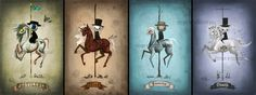 Entire Four Horsemen set 4x6 digital art lustre print Halloween art - via Etsy.