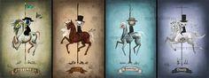 Entire Four Horsemen set 4x6 digital art lustre print Halloween art - via Etsy.