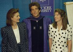 A Legal Eagle JFK Jr. stands with his mother and sister on the day he graduated from NYU School of Law in 1989. JFK Jr. was encouraged to pursue a law degree by his mother, who thought acting was beneath him.