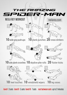 Amazing Spider-Man Workout. Bunch of nerdy workouts on this website. Really helpful for those of us that spend all our time on tumblr. Who says you can't be nerdy and fit?