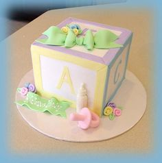 Baby Block Cake by cakesbyashley - I love the stitching, too cute