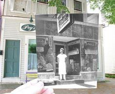 Window To The Past - Peg's Vintage Diner in 2011 mixed with Gregory's Soda Fountain from the 1940's. Walter Gregory stands on the steps. 1940's photo courtesy of the Colchester Historical Society. (Colchester, CT)