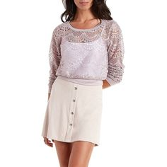 Charlotte Russe Cloud Gray Cropped Scoop Neck Lace Sweatshirt by... ($20) ❤ liked on Polyvore featuring tops, hoodies, sweatshirts, cloud gray, long sleeve lace top, lace crop top, lace sweatshirt, long sleeve crop top and grey crop top