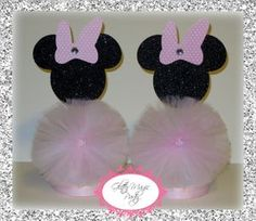 Minnie Mouse Centerpiece - Minnie Mouse Inspired Party - Minnie Mouse Party Decoration - Light Pink Bow - Minnie Mouse - SET OF 2