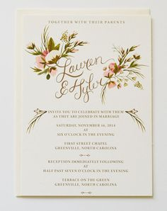 Custom Hand Painted Wedding Invitation Suite/ Set of 25-Gold name sweep
