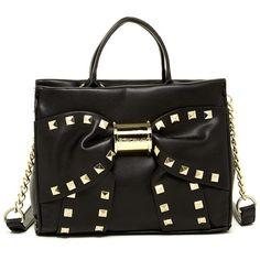 Betsey Johnson Viva La Bow Satchel ($39) ❤ liked on Polyvore featuring bags, handbags, black, black purse, studded satchel handbag, black satchel, betsey johnson handbags and black studded satchel