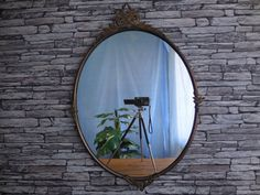 Excited to share the latest addition to my #etsy shop: Vintage continental metal framed round mirror https://etsy.me/2ISHrfQ #housewares #homedecor #bedroom #vintagecontinental #metalframedmirror #metal #millstreetbrocante