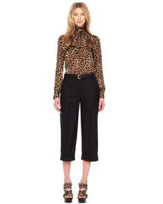 MICHAEL Michael Kors  Leopard-Print Bow Blouse & Cropped Cuffed Pants.