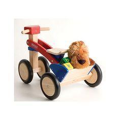 Tricycle en bois rouge et bleu Pintoy - Magasin de Jouets pour Enfants