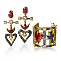 Urban Industrial Decor Tips Vintage Costume Jewelry, Vintage Costumes, Vintage Jewelry, Cross Earrings, Big Earrings, Heart Earrings, Enamel Jewelry, Silver Jewelry, Gold Jewellery
