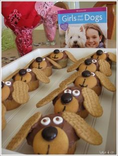 Puppy Cupcakes for dog-themed birthday party.  HUGE hit.  SO FUN to make and eat!  We used the ideas from the American Girl book shown here.