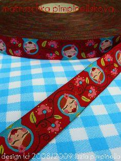 Jacquard Ribbon, Matroschka Ribbon,  Farbenmix woven red babushka webband,  Sewing Tape, 1 metre