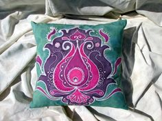 Mint Magenta Floral Motif Hand Painted Batik by BataviaDesign Drawing Process, Magenta, Purple, Personalized Pillows, Colorful Pillows, Floral Motif, Some Pictures, Vintage Inspired, Oriental