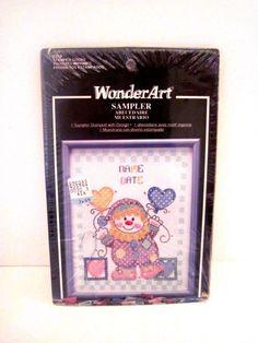 NEW Cute WonderArt Birthday Clown Cross Stitch Sampler Craft Kit, #9258 #WonderArt #Crossstitch