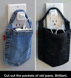I like the old jean pocket idea, but not using it this way. Seems like it would be too heavy to hang like that and also could be a potential fire hazard.