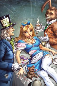 Alice in Wonderland, The Mad Hatter's Tea Party -  Illustrations by David Nakayama
