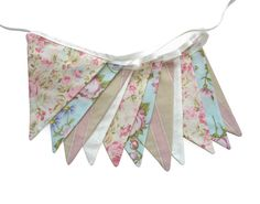 Vintage Style Pretty Pastel Floral Pink, Blue & Ivory, Flag Bunting. Kitchen Tea Party, Wedding etc on Etsy, $27.38