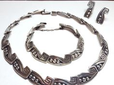 Vintage+c.1940+Los+Castillos+Mexico+Sterling+Silver+Chocker,+Bracelet+Earrings+#LosCastillosTaxcoMexico