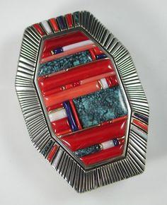 Navajo Buckle, Raymond Yazzie, Lee Yazzie, Glittering World, Yazzie Family, Coral Jewelry, Glittering World New York, Raymond Yazzie Jewelry, Sedona