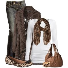 I dont care for the leopard print. I would choose a dark brown print to match the sweater.Women's fashion: Fall outfit idea leopard scarf & shoes.