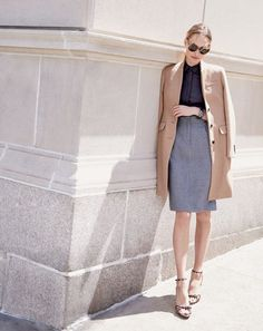 J.Crew women's  Regent topcoat, two-piece shirtdress in microhoundstooth and leopard bow sandals.