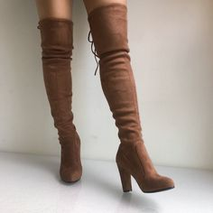ITCQUALITY FAUX SUEDE WOMEN THIGH HIGH BOOTS STRETCH SEXY OVER KNEE WINE ITC1057 - Boots