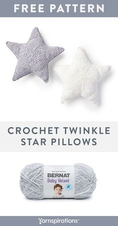 Yarnspirations is the spot to find countless free easy crochet patterns, including the Bernat Crochet Twinkle Star Pillows, Snow White. Crochet Star Patterns, Crochet Pillow Pattern, Crochet Stars, Crochet Cushions, Pillow Patterns, Easy Patterns, Crochet Diy, Crochet Home, Crochet Crafts