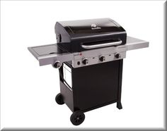 BBQ Gas Grill 3 Burner Outdoor Cooking Barbecue Black Steel Wheeled Propane    eBay