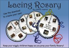 Lacing Rosary for Children - Keep Kids Content While You Pray - Create – Catholic Inspired Catholic Crafts, Catholic Kids, Rosary Catholic, Catholic School, Catholic Easter, Catholic Homeschooling, Holy Rosary, Catholic Prayers, Rosary Prayer