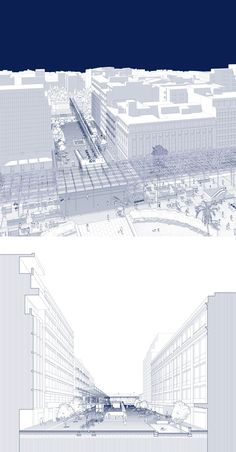 Archisearch - KORAI AND PANEPISTIMIOU STREET- Korai, due to its position among two major city nodes (Trilogy Complex and Klafthmonos Sqr.), is bound to play a pivotal role. By introducing a linking element in the form of a light metal passageway housing a bike parking, Korai emerges as a piece of connective tissue between two main urban organs enabling them to act in unison. The increasing use of the bicycle as a transportation means reinforces the hub like character of this walkway. Architecture Presentation Board, Architecture Board, Architecture Graphics, Architecture Visualization, Architecture Drawings, Architecture Portfolio, Landscape Architecture, Architecture Design, Architecture Diagrams