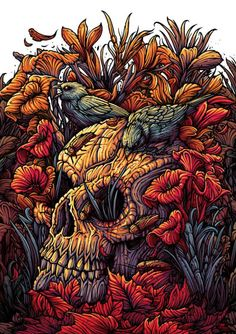 Dan Mumford just put a number of new art prints up for sale. These are all x giclees, have small editions and cost each. Skull Illustration, Digital Illustration, Dark Fantasy Art, Dark Art, Dan Mumford, Fantasy Paintings, Arte Horror, Band Posters, Skull And Bones