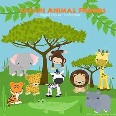 Safari Animal Friends Digital Clipart clip art by Dragonflytwist, $5.50