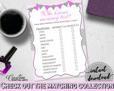Baby Shower Lines Chevrons Baby Shower How Well Do You Know Mummy Info WHO KNOWS MOMMY Best, Instant Download - cp001 #babyshowerparty #babyshowerinvites