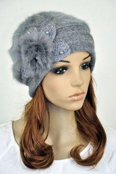 New Faux Rabbit Fur & Wool Winter Hat Beanie Cap Cute Fur Flower Women's Funky Hats, Cute Hats, Winter Hats For Women, Hat Shop, Cloche Hat, Hat Hairstyles, Pearl Flower, Rabbit Fur, Knitted Hats