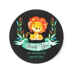 Chalkboard Watercolor Lion Boy Thank You Sticker - baby shower ideas party babies newborn gifts