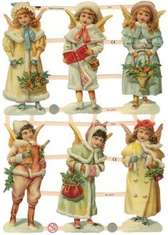 Victorian Christmas angels paper scraps from Germany from 32 Degrees North