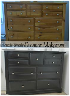 Bedroom Furniture Makeover Part 2.  How to stain your wood furniture black.