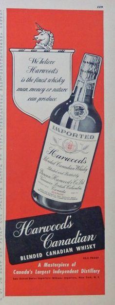 Harwood s Canadian Whiskey 40 s print ad  Color Illustration  whisky 1948 Esquire Magazine art